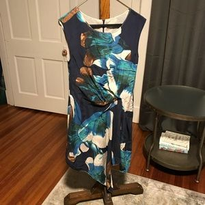 Draped Silk Dress - Navy Watercolor Floral Print S